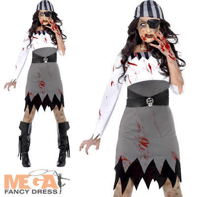 Zombie Pirate Ladies Hallowen Fancy Dress Womens Adults Horror Costume Outfit (Hallowen Outfit)