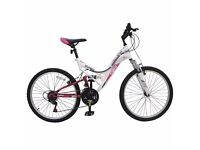 """24"""" Avigo Rose Dual Suspension Bike Suitable for 10-13 year old Girls .Like New ..UNWANTED XMAS GIFT"""