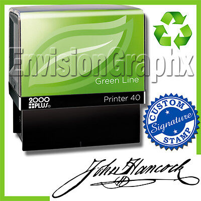 Custom Signature Self Inking Rubber Stamp Recycled Green Line P40 Stamper