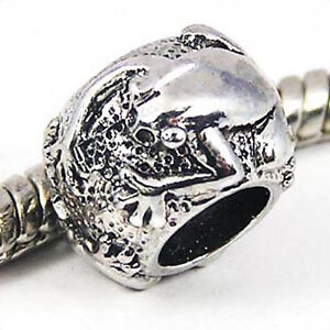 5pcs-Frog-Silver-European-Spacers-Charms-Beads-For-Bracelet-Necklace-LEB461