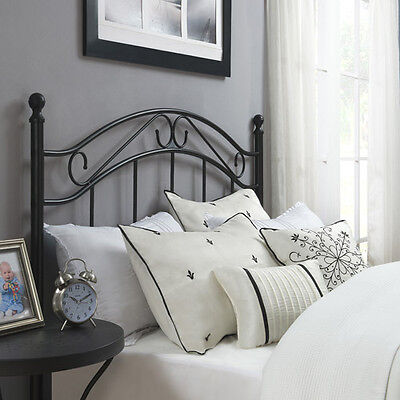 Traditional Metal Black Headboard Full Queen Size Bed Bedroom Frame New