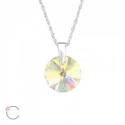 LA CRYSTALE 925 Sterling Silver AB Crystal Circle Pendant Necklace for sale  Shipping to Ireland