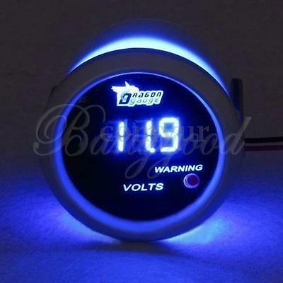 2'' 52mm BLUE DIGITAL LED 12V VOLT VOLTAGE VOLTMETER GAUGE CAR FOR VW FORD AUDI