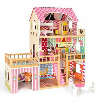 ROBUD Wooden Dollhouse with Furniture Doll House Play Set Gift for Kids Girls