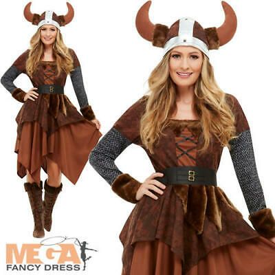 Viking Barbarian Queen Ladies Fancy Dress Saxon Adults Book Day Costume Outfit