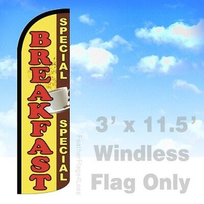Breakfast Special - Windless Swooper Flag 3x11.5 Feather Banner Sign - Yq