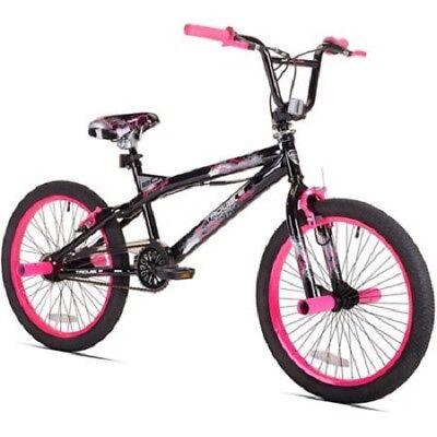 "BMX Bike Girls Bicycle 20 Inch 20"" Kent Trouble Black Pink Steel Frame Teens"