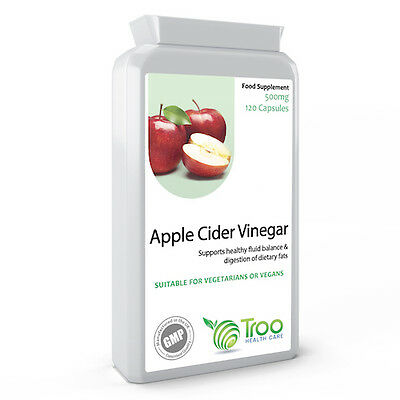 Apple Cider Vinegar 500mg 120 Capsules - UK Made GMP Guaranteed Quality Mother