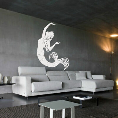 Wall Decal Mermaid Girl Fish Tail Sea Ocean Story Mural Bedroom decor M1002