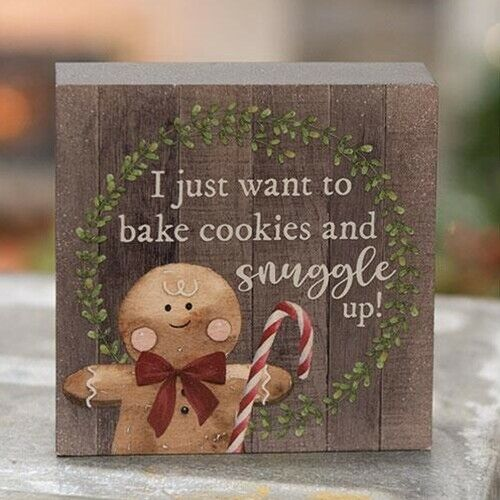 """NEW Gingerbread Man I JUST WANT TO BAKE COOKIES Wood Block Christmas 4""""x4""""x1"""""""