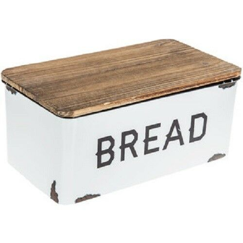 Bread Box Farmhouse White Vintage Retro Style Enamel Shabby Food Storage Chic