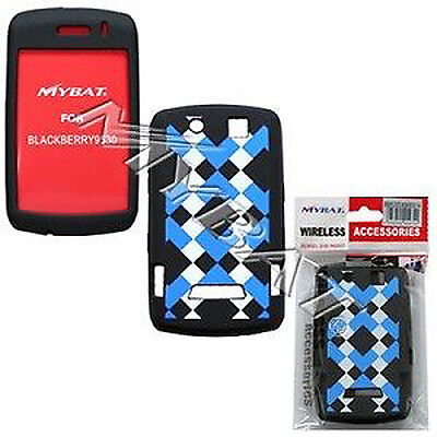- Blue Plaid Rubber Skin Case for BlackBerry Storm 9530