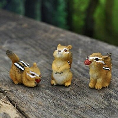 Miniature Chipmunk set of 3 GO 17461  Fairy Garden Dollhouse Terrarium