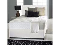 "NEW DIVAN BED SETS + 10"" MEMORY FOAM MATTRESS + PLAIN HEADBOARD (OPTIONAL COLOURS)"