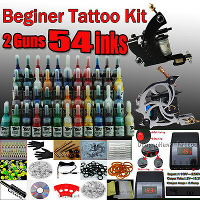 Beginner Complete Tattoo Kit 2 Machine Gun 54 color Ink Power supply Set D100-1 on Rummage