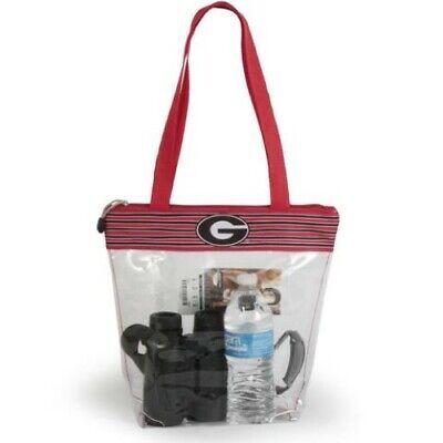 Georgia Purse (GEORGIA BULLDOGS CLEAR ZIPPER STADIUM TOTE APPROVED PURSE BAG NCAA INSIDE PO )