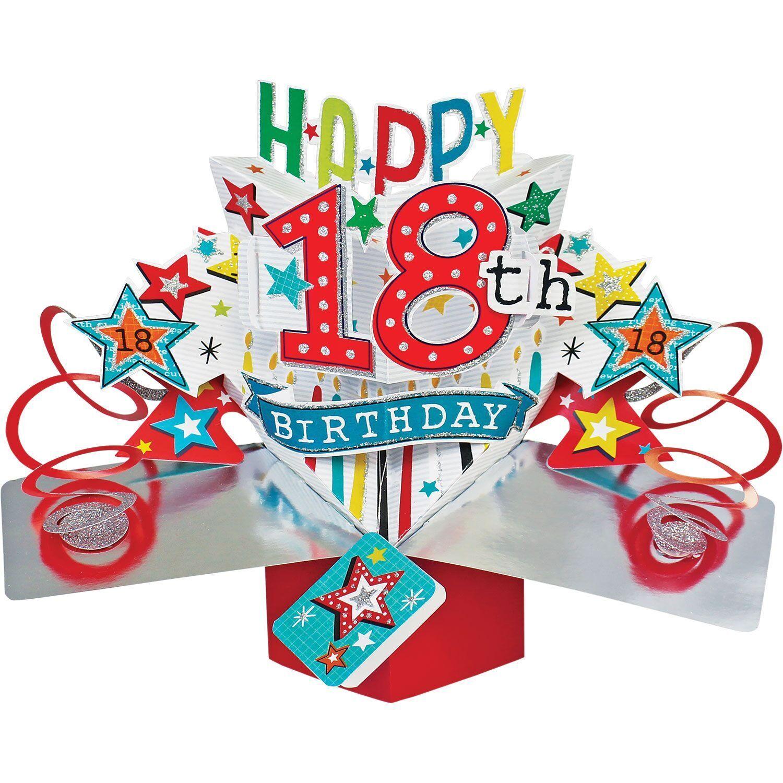 18. Geburtstag Pop-Up 3D Glitzer & Sterne Luxus Grußkarte HAPPY BIRTHDAY Karte