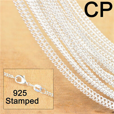 10X Silver Flat Curb Necklace Chain Making Jewelry Findings For Pendant 18