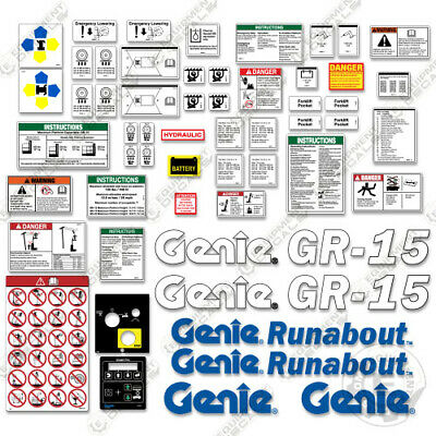 Genie Gr15 Decal Kit Runabout Vertical Mast Lift Replacement Stickers - 3m Vinyl