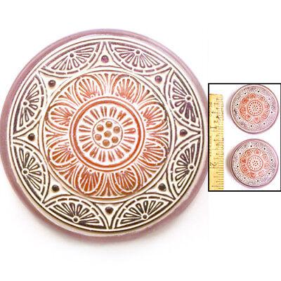 SALE XL FOCAL 35mm Vintage Czech MATTE Red Purple SUN MEDALLION Glass Buttons 2p