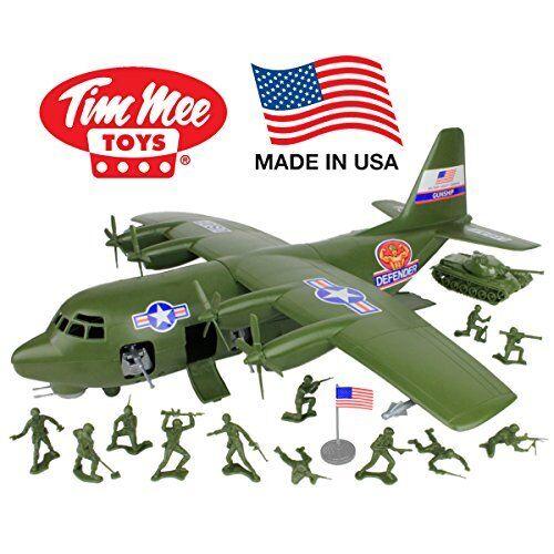 Christmas Kids Toy USA Army Men 27pc Giant Military Airplane Tank  - Xmas Gift