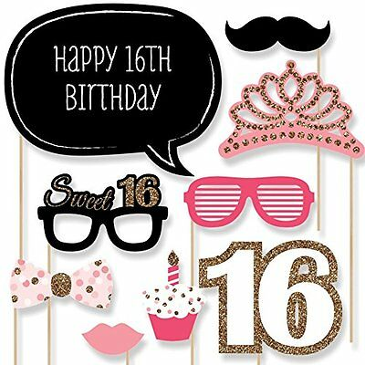 Sweet 16 Birthday Photo Booth Props Kit 20 Count Photobooth Props