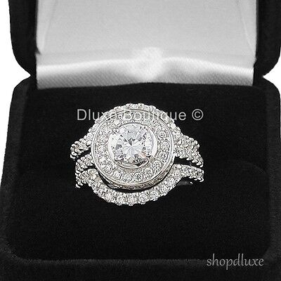 4.95 CT HALO ROUND CUT .925 STERLING SILVER WEDDING RING SET WOMEN'S SIZE 4-11 2