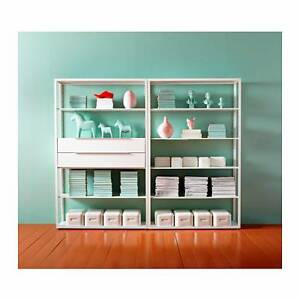 Clean and simple white shelves with 4 drawers - REDUCED must go Leichhardt Leichhardt Area Preview