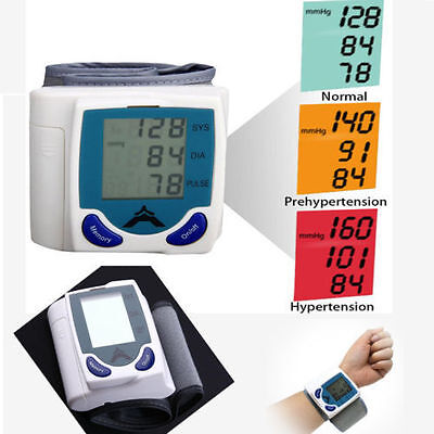 LCD Digital Wrist Blood Pressure Monitor Heart Rate Beat Pulse Meter Measure BPA