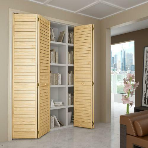 36 In X 80 In Pine Unfinished 2 Panel Full Louver Wood: Louvered Doors