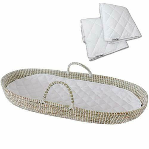 Baby Changing Basket Handmade Seagrass Basket - with 2 Soft Waterproof Pads