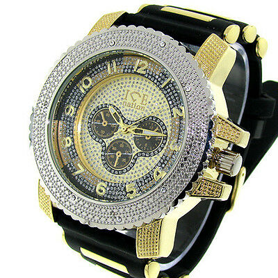 Mens Silver/Gold Ice Nation Watch Iced Out Hip Hop Bullet Band Wrist Watch