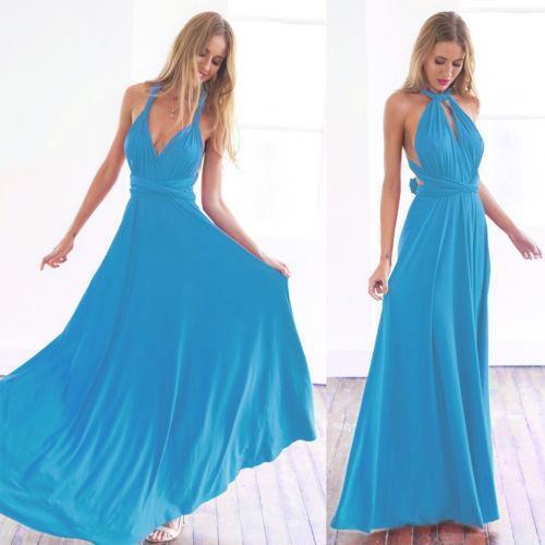 Women's Evening Dress Convertible Multi Way Wrap Bridesmaid Formal Long Sundress
