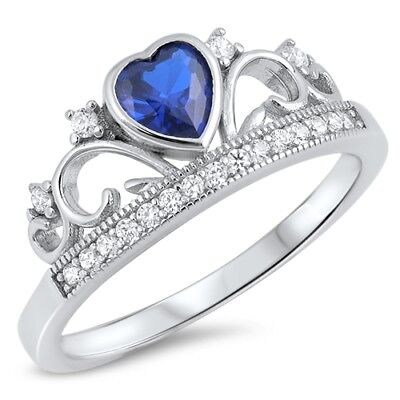 Simulated Sapphire Heart CZ Princess Crown Tiara Ring .925 Sterling Silver Band Simulated Sapphire Heart Ring