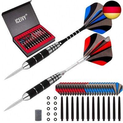 ICEIVY Dartpfeile Dart Pfeile mit Metallspitze, 12 Stück Steel Tip Darts Set 22