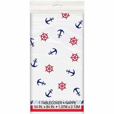 SUMMER Nautical Anchors PLASTIC TABLE COVER ~ Birthday Party Supplies Decoration - Nautical Birthday Party Supplies