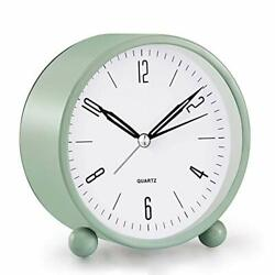 Analog Alarm Clock, 4 inch Super Silent Non Ticking Small Clock with Green