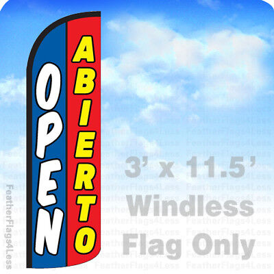 Open Abierto - Windless Swooper Flag Feather Banner Sign 3x11.5 Bq
