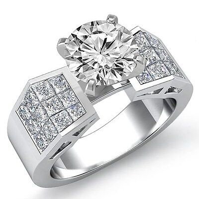 2.34ct Round Cut Diamond Women's Engagement Solid Ring GIA F SI1 14k White Gold