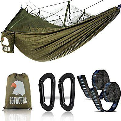 Camping Hamac Set avec Moustiquaire, 2 Sangles D