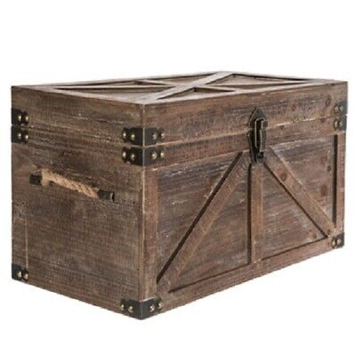 Brown Country Rustic Wood Storage Trunk Wooden Chest Organizer (Rustic Trunk)