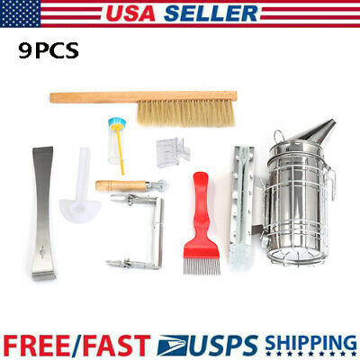 Set Bee Tool 9pcs Beekeeping Equipment Beekeeper Bee Catcher Hive Smoker Tools