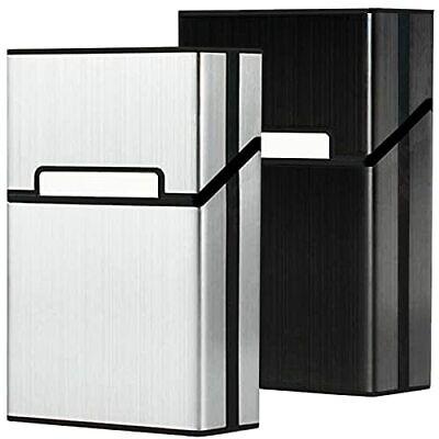 roygra Aluminum Cigarette Case 2 Pack, Magnetic Switch, 85mm King Size, 18-20 Ca