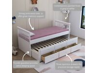 Captain bed, 3 Draws, storage, Trundle, Guest bed, White Grey, single bed, padded, ortho, mattress,