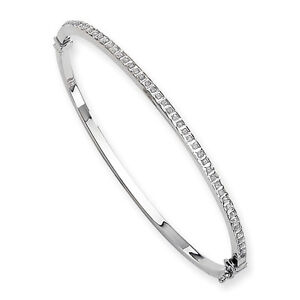 14k White Gold Diamond Fascination Hinged Bangle. Total Carat Weight- 0.005cttw