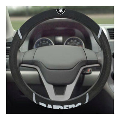 Brand New Nfl Oakland Raiders Black Mesh Extra Grip Steering Wheel Cover