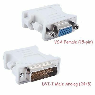 BEIGE DVI-I 24+5 Pin Male To 15 Pin VGA Female Adapter Convertor Computer Cables & Connectors