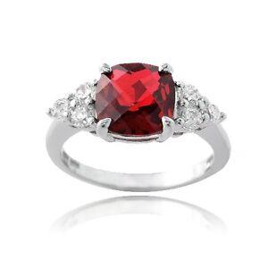 Bague argent 925 avec diamant rubis rouge 1.4 carat CZ
