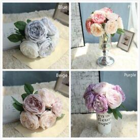 5 Heads Artificial Rose Bouquet Fake Silk Flower Party Home Garden Decoration UK