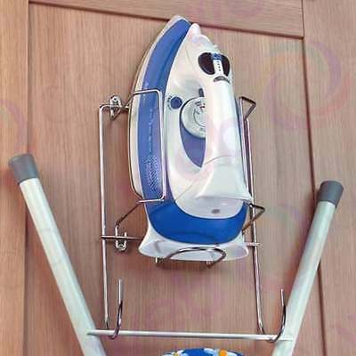 steel iron holder wall mounted chrome wire ironing board cupboard hanger storage ebay. Black Bedroom Furniture Sets. Home Design Ideas